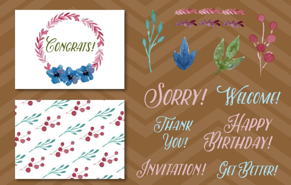 Free Watercolored Greeting Card Elements