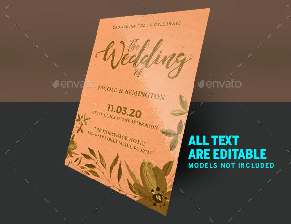 Gold and Peach Wedding Invite Template