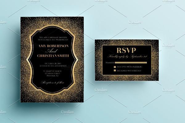 Printable Gold Glitter Wedding Invitation
