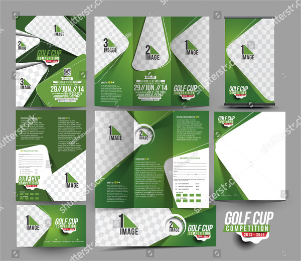 Golf Club Stationery Set Vector