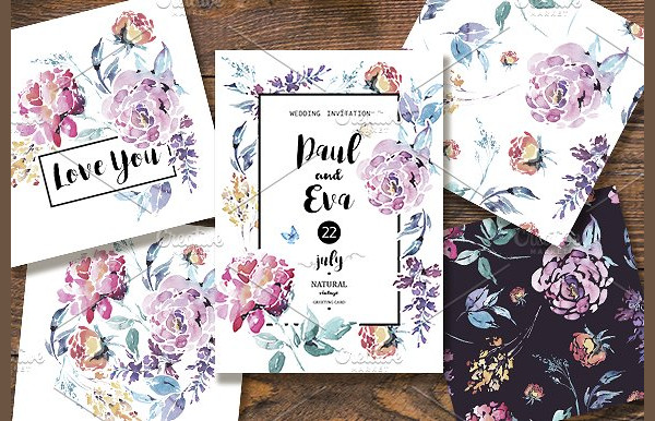 Love You Floral Greeting Card Templates