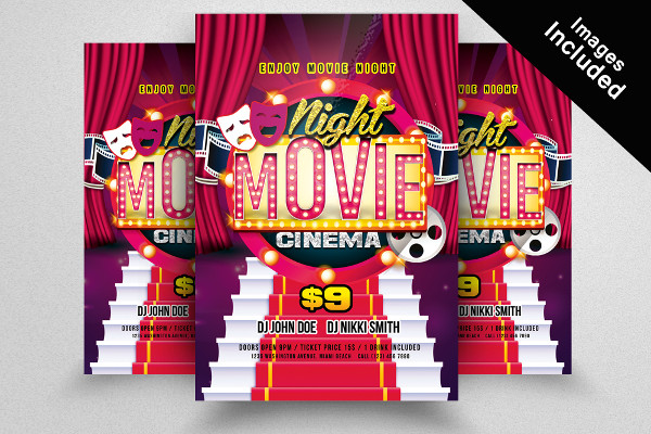 Movie Night Colorful Flyer Template