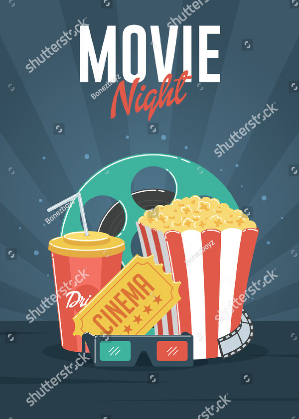 Cool Movie Night Poster Or Flyer