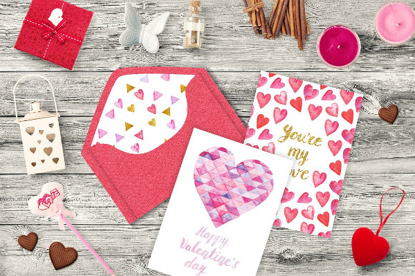 Collection of Watercolor Valentine's Day Cards Template