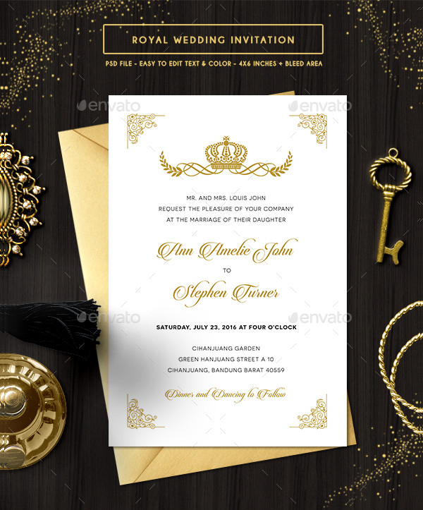 Customizable Royal Wedding Invitation PSD