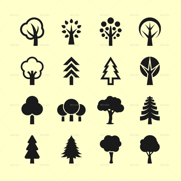 16 Popular Tree Icon Set