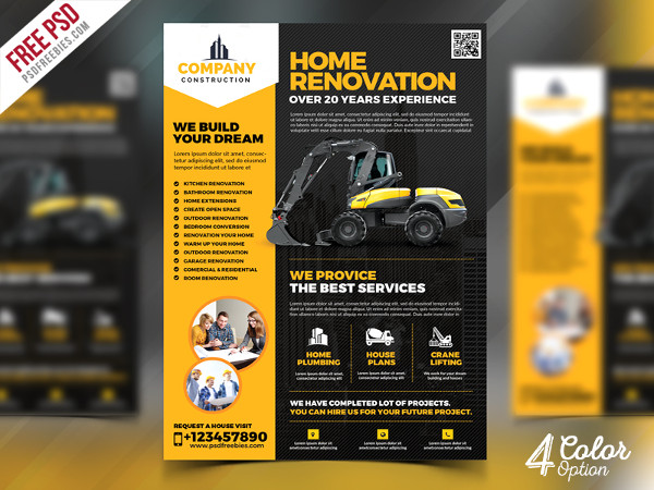 Construction Company Flyer Free PSD Bundle