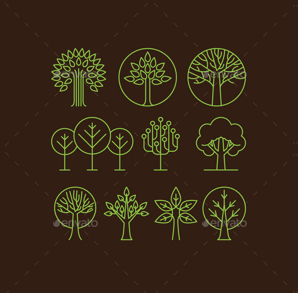 Vector Organic Tree Icons