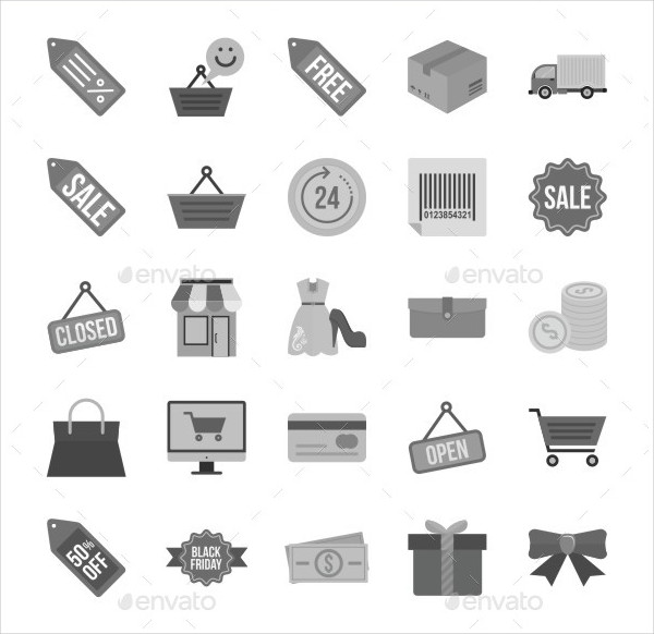 25 Black Friday Grey Scale Icons