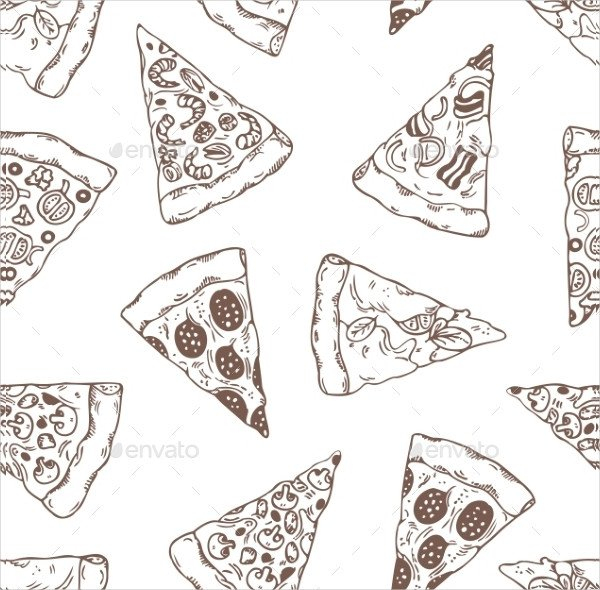 Hand Drawn Slices of Pizza Pattern
