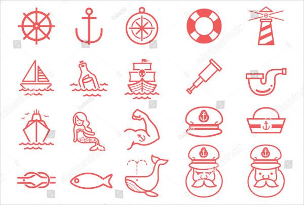 Nautical Vector Illustration Icon Set