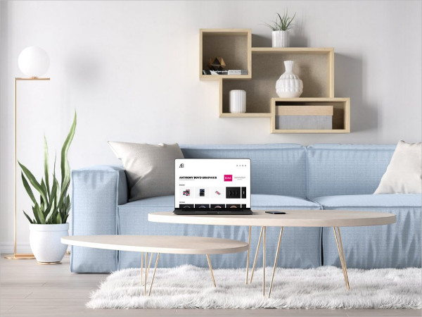 MacBook Pro in a Living Room Mock-Up Free