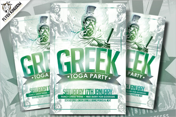 Greek Toga Party Flyer Template
