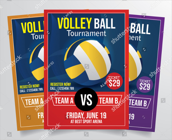 Professional Volley Ball Tournament Flyer Template