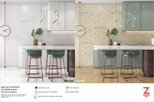Floor & Wall Mockup Kitchen Scene