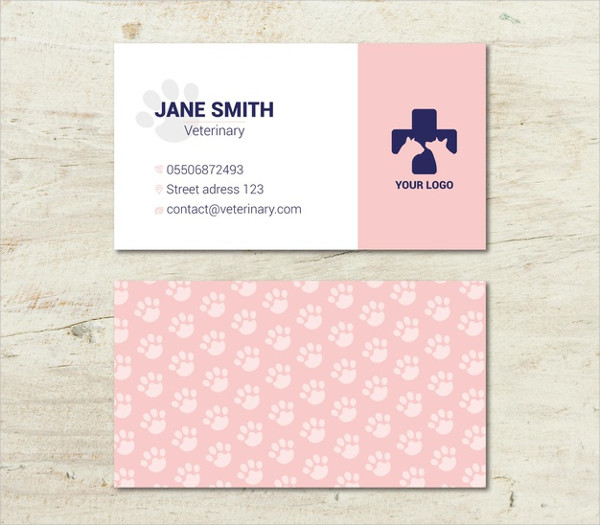 Veterinary Double-Side Business Cards Template Free