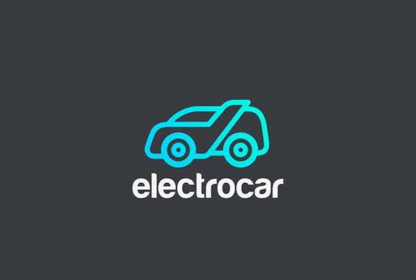 Electric Car Icon in Linear Style Free Download