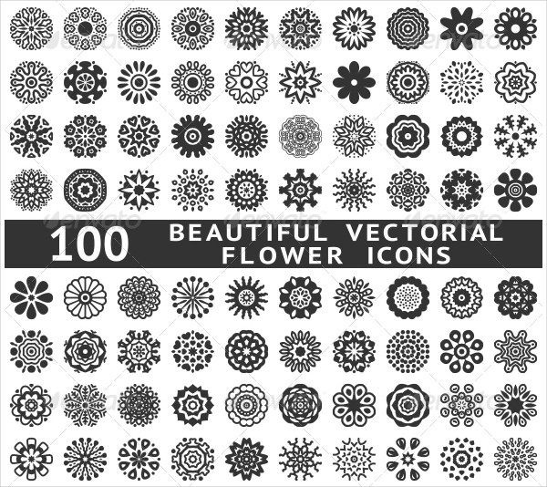 100 Beautiful Abstract Flower Icons