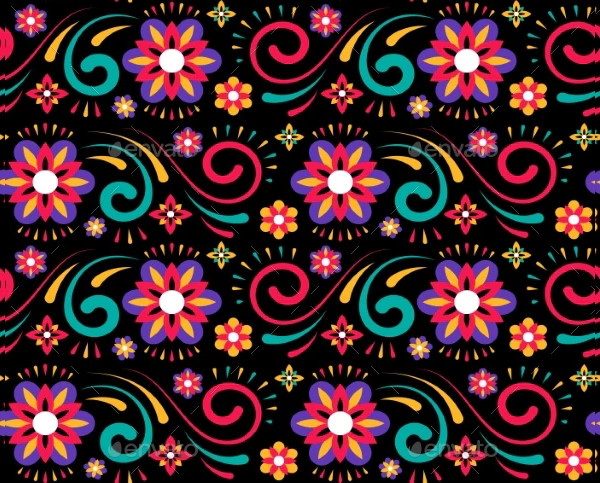 Abstract Flower Mexican Pattern for Textile Design