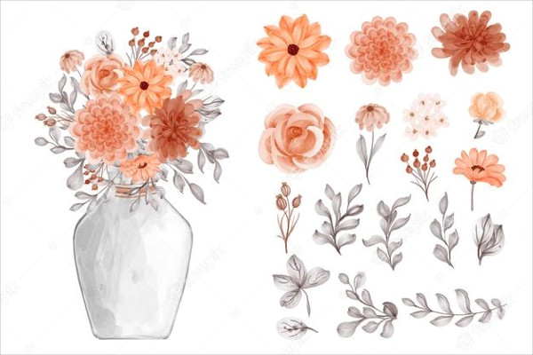 Flower Orange and Leaves Isolated Clip Art Free