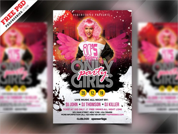 Girls Party Free PSD Flyer Design