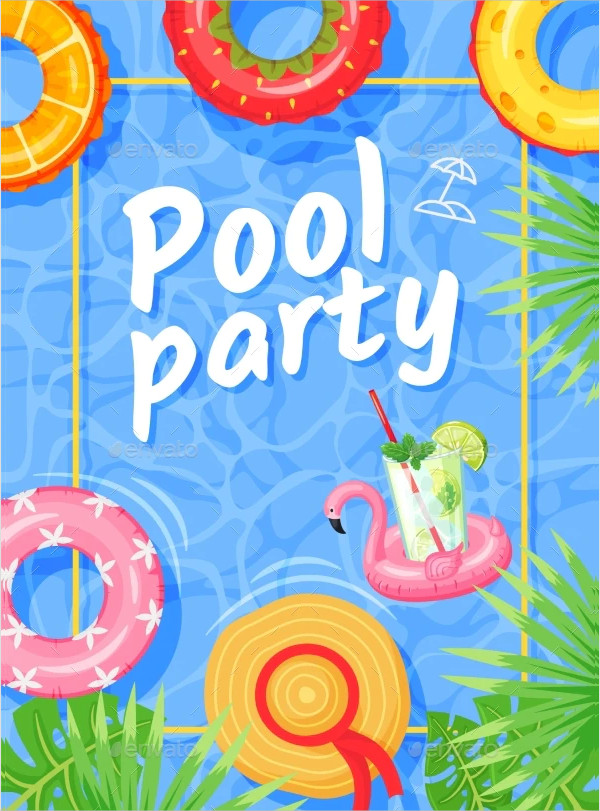 Summer Party Flyer with Swimming Rings