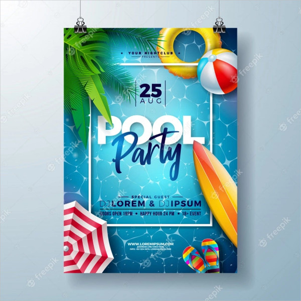 Summer Pool Party Poster Design with Palm Leaves Free