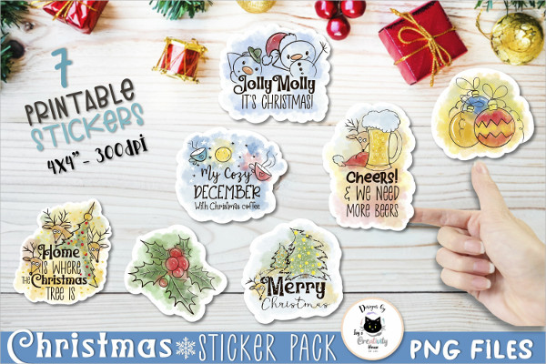 Printable Stickers for Holiday Crafts