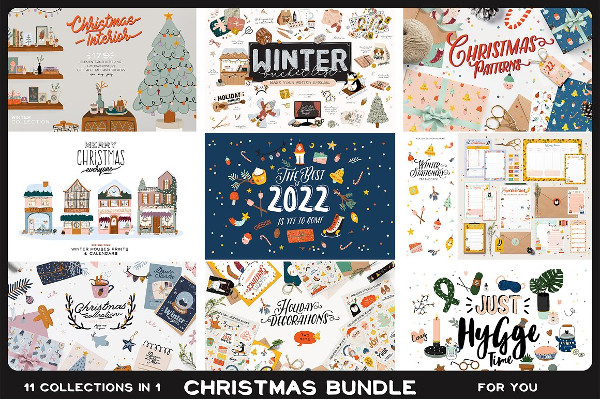 Winter Bundle with Holiday Illustrations and Prints