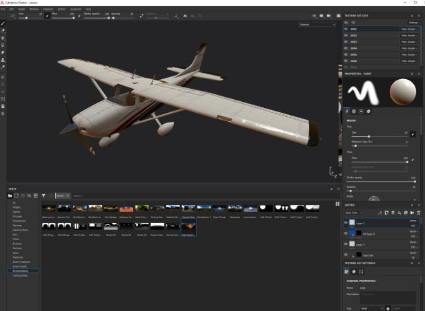 Cessna textured in Substance Painter using the Metal Roughness preset. The materials are ready from Substance Painter to V-Ray Next
