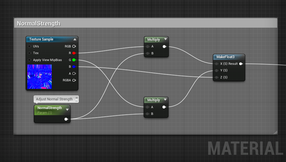 Here are the nodes to normal map strength in Unreal