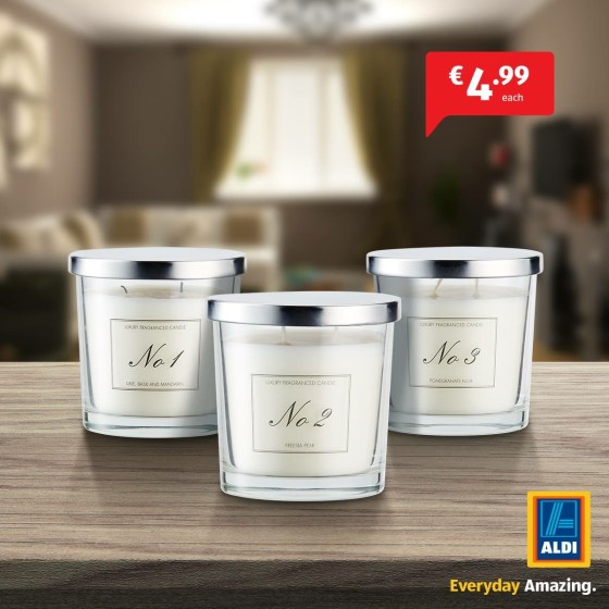 A photo of an Aldi Advertisement for candles