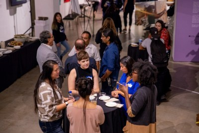 A cross-sector audience of youth, CYD practitioners, and funders enjoy an evening reception at San Diego Art Institute during the 2019 San Diego Creative Youth Development Summit