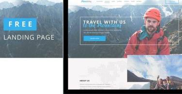 Mountains – Free Travel Landing Page PSD Template