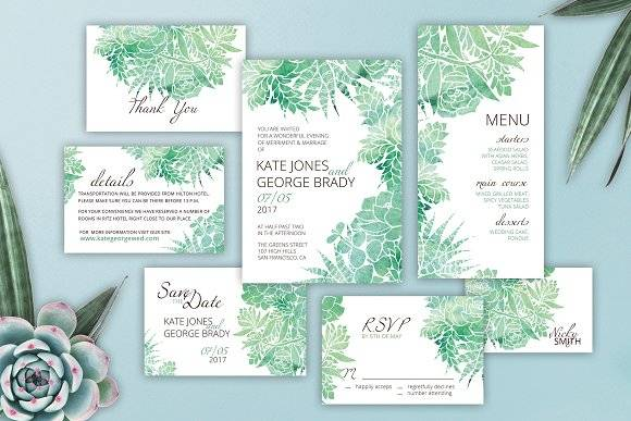 Succulents Watercolor Wedding Suite