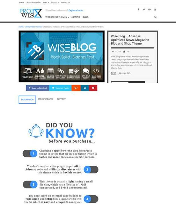 Wise Blog wordpress theme