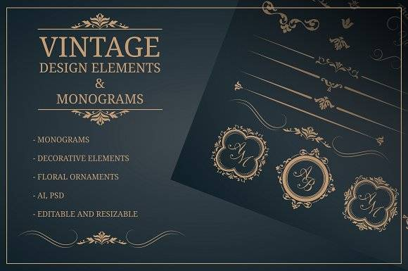 Vintage design elements & monograms
