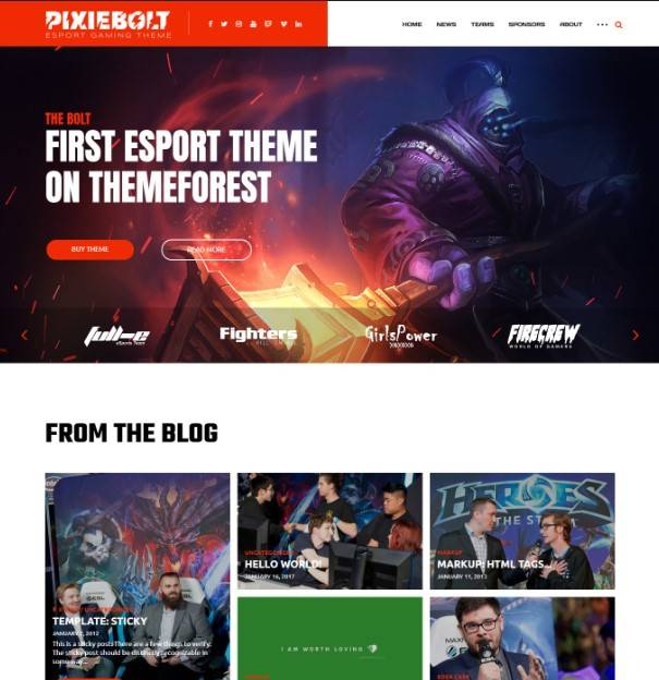 PixieBolt | eSports Gaming Theme For Clans & Organizations