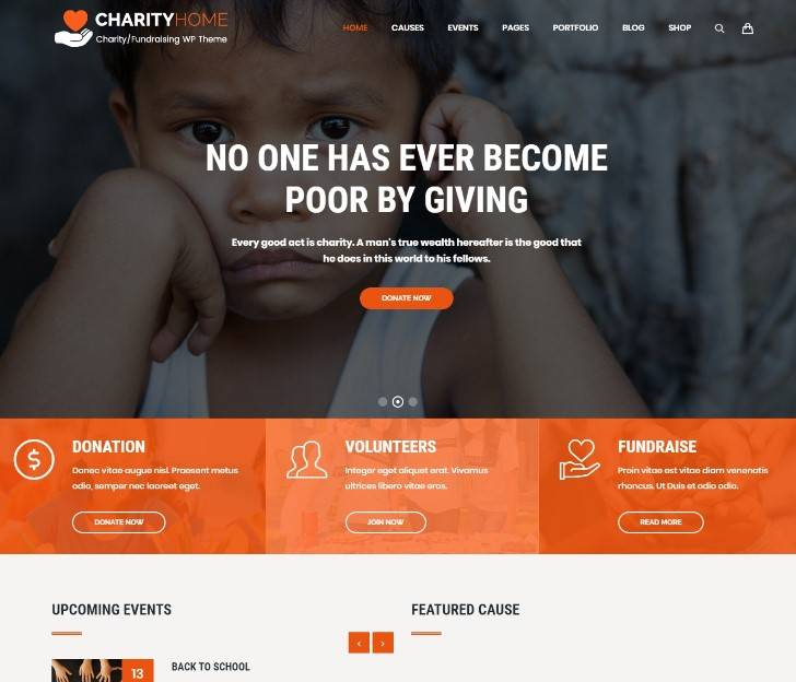 Charity Home - Charity/Fundraising WordPress Theme