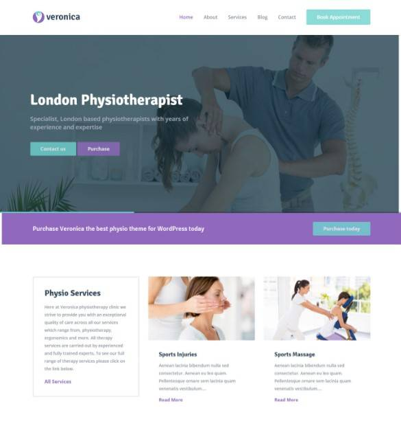 Veronica - Physiotherapy, Medical WordPress Theme