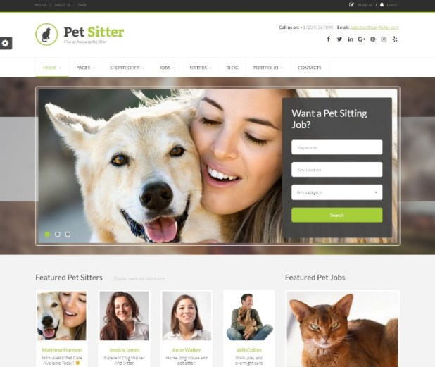 Pet Sitter - Job Board Responsive WordPress Theme