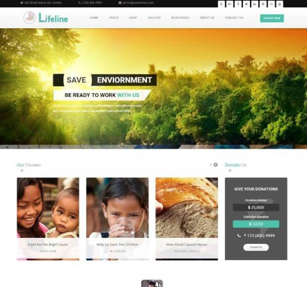 Lifeline - NGO Charity Fund Raising WordPress Theme