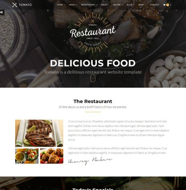 Tomato - Restaurant, Cafe, Espresso WordPress Theme