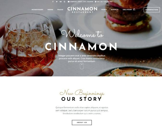 Cinnamon Restaurant Theme for WordPress