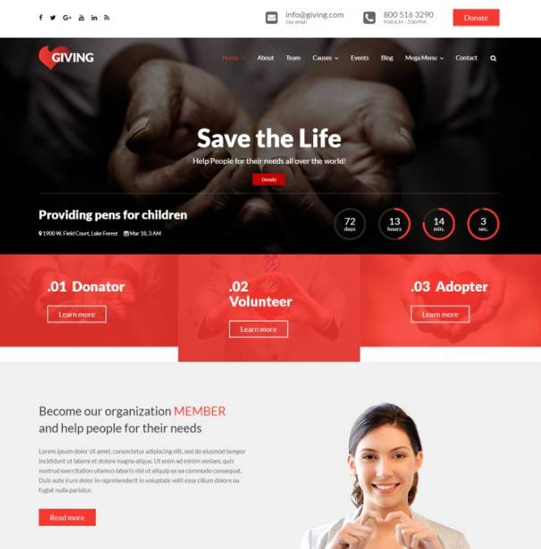 Giving - NGO/Charity/Fundraising WordPress Theme | Charity WordPress