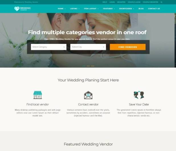 Vendor Directory WordPress Theme | Wedding Vendor