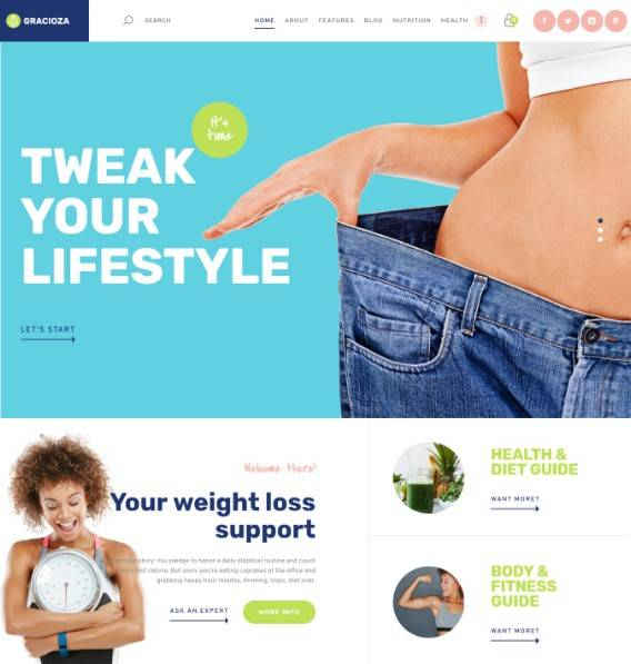 Weight Loss Company & Healthy Blog WordPress Theme