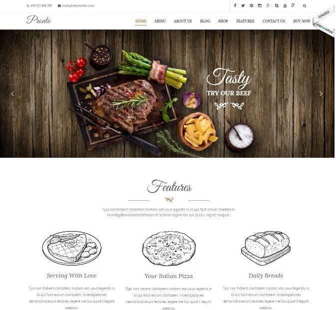 Pronto - Restaurant & Event WordPress Theme