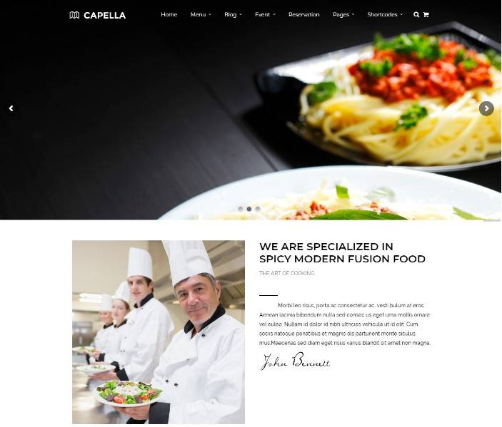 Restaurant WordPress | Capella for Restaurant
