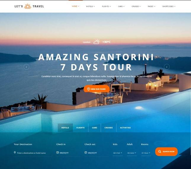 Let's Travel - Responsive Travel Agency WordPress Theme